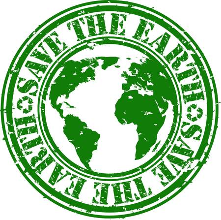 save planet: Grunge save the earth rubber stamp, vector illustration