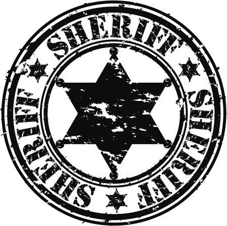 police badge: Grunge sheriff star, vector illustration
