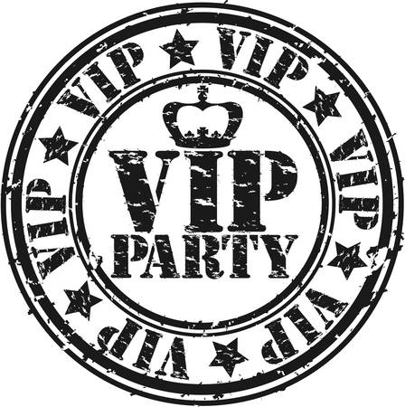 Grunge vip party rubber stamp, vector illustration