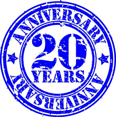 Grunge 20 years anniversary rubber stamp, vector illustration