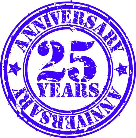 aniversario: Grunge 25 a�os aniversario de sello de goma, ilustraci�n vectorial