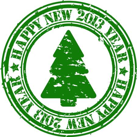 happy new year stamp: Grunge happy new 2013 a�os sello de goma, ilustraci�n vectorial Vectores
