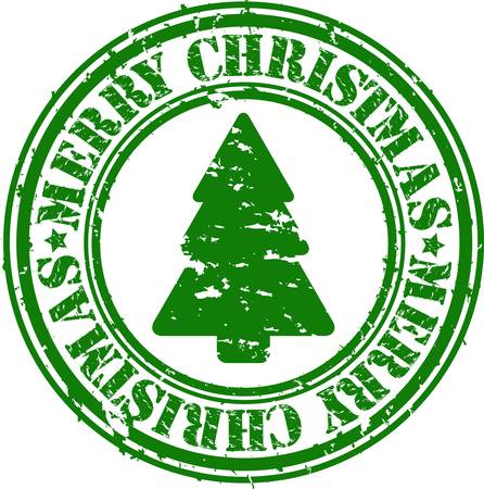 Grunge merry christmas rubber stamp, vector illustration Vector