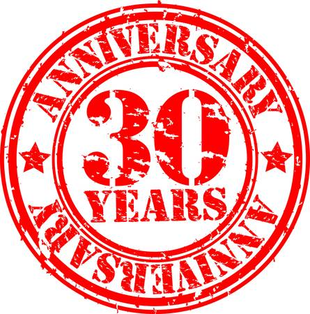 30: Grunge 30 years anniversary rubber stamp, vector illustration