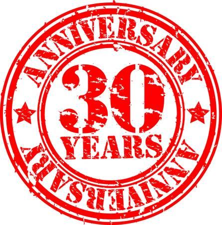 aniversario: Grunge aniversario de 30 a�os sello de goma, ilustraci�n vectorial