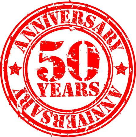 50: Grunge 50 years anniversary rubber stamp, vector illustration