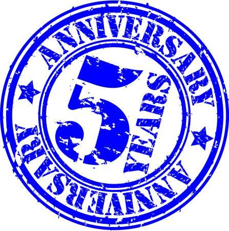 Grunge 5 years anniversary rubber stamp, vector illustration