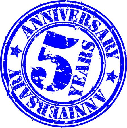congratulations sign: Grunge 5 years anniversary rubber stamp, vector illustration