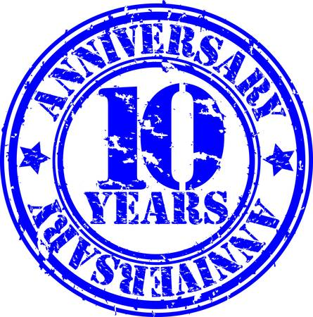 10 years: Grunge 10 years anniversary rubber stamp, vector illustration