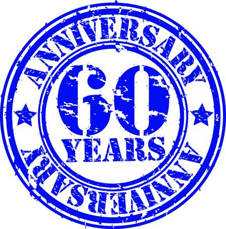 five year: Grunge 60 years anniversary rubber stamp, vector illustration