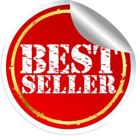 sticker vector: Grunge best seller sticker, vector illustration