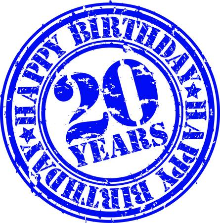 20 years: Grunge 20 years happy birthday rubber stamp, vector illustration