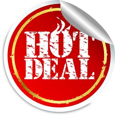 Grunge hot deal sticker, vector illustration Vector