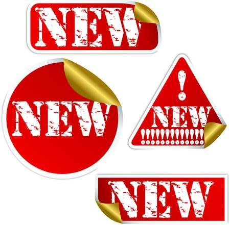 Grunge new sticker, vector illustration Stock Vector - 13610779