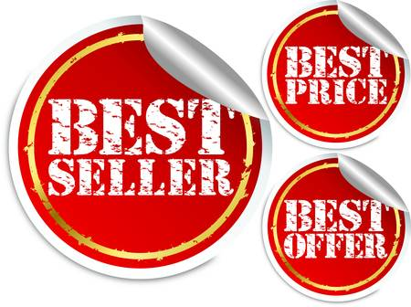 Best seller, best price and best offer stickers Vector