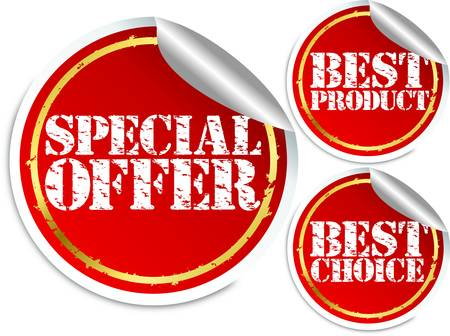 Special offer, best product and best choice stickers Vector