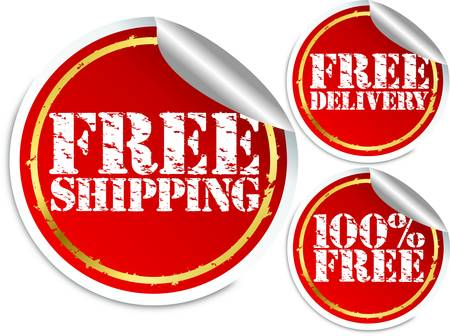 Free shipping, free delivery and 100 percent free sticker Stock Vector - 13640366