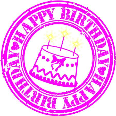 Grunge happy birthday rubber stamp, vector illustration Stock Vector - 13663743