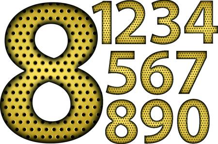 numerals: Number set, from 1 to 9, golden grill, vector illustration