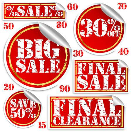 Big sale stickers and labels set, vector illustration Stock Vector - 13707621