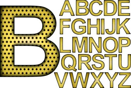 Golden grill alphabet, letters from A to Z, vector illustration Vector