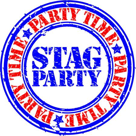 Grunge stag party rubber stamp, vector illustration Vector
