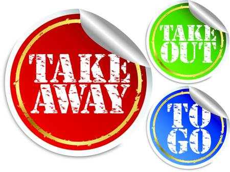 take out: Take away, take out and to go stickers, vector illustration
