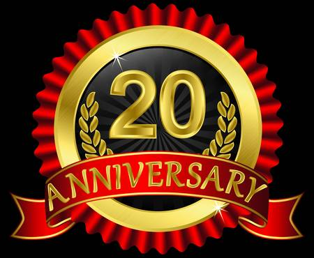 20 years anniversary golden label with ribbons, vector illustration Vector