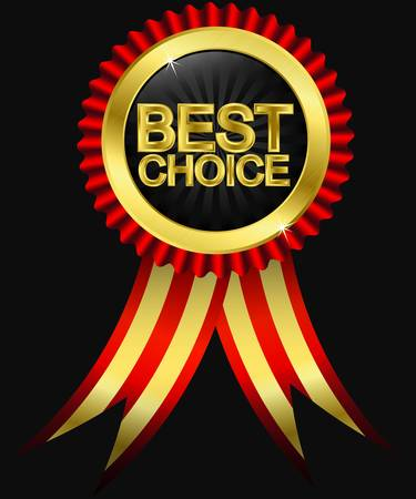 Best choice golden label with red ribbons, vector  Vector