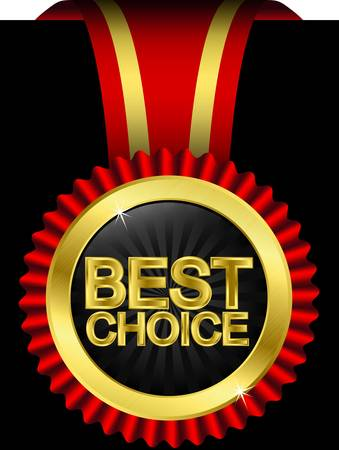 Best choice golden label with red ribbons, vector