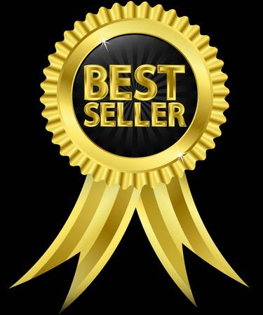 Beste verkoper gouden etiket met gouden linten, vector illustration