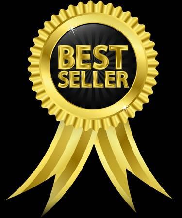 best seller: Bestseller goldenen Etikett mit goldenen B�ndern, Vektor-Illustration Illustration