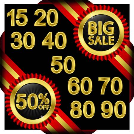 Big sale set, golden label with ribbons, vector illustration Stock Vector - 14634660