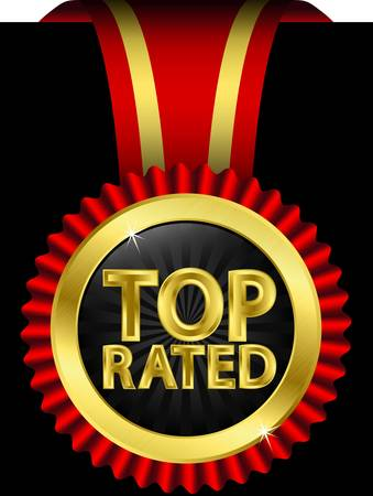 top rated: Top rated golden label with red ribbons, vector illustration  Illustration