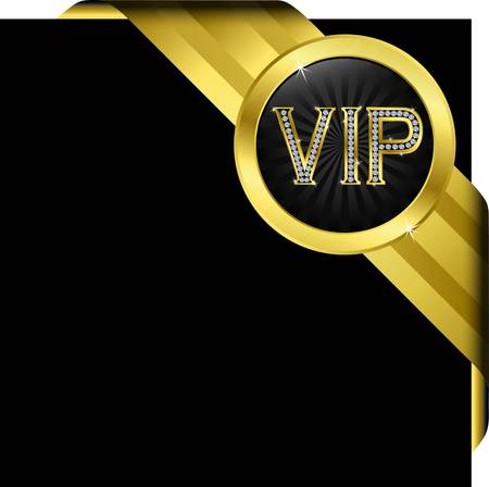 vip badge: Vip golden label with diamonds and gold ribbons, vector  Illustration