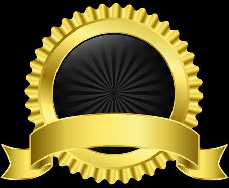 Golden label with golden ribbon, vector illustration Stock Vector - 14634653