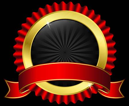 gold seal: Golden label with red ribbon, vector illustration Illustration