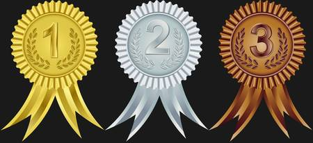 rosette: Cintas de premio para el primer, segundo y tercero, ilustraci�n vectorial