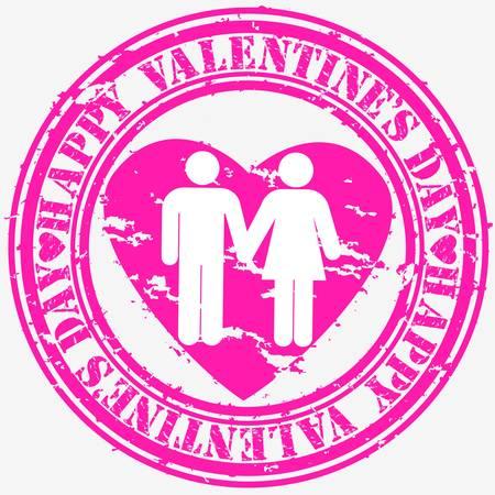 Grunge Happy Valentine s day rubber stamp, vector illustration  Stock Vector - 14634686