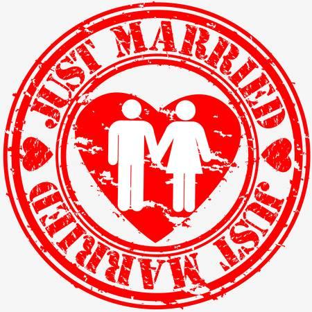 just married: Grunge solo sello de caucho se casó, ilustración vectorial
