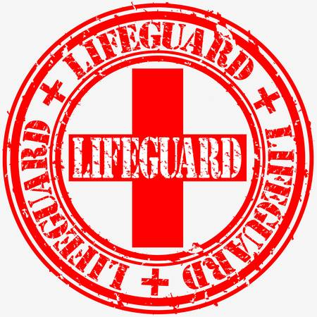 Grunge lifeguard rubber stamp, vector illustration  Vector