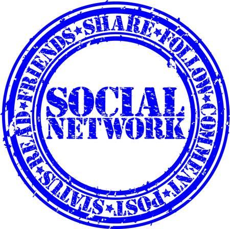 Grunge social network rubber stamp,vector illustration  Stock Vector - 14634695