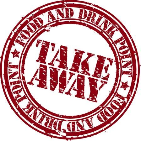 takeaway: Grunge take away rubber stamp, vector illustration
