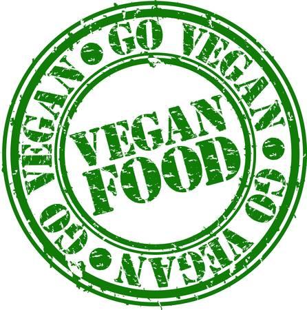 Grunge veganistisch eten rubber stempel, vector illustration