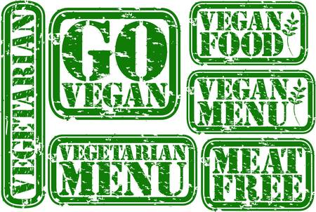 Grunge vegan rubber stamp set, vector illustration Vector