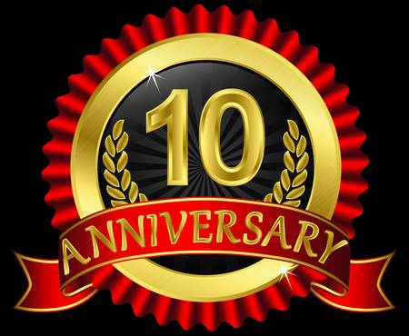 10 years anniversary golden label with ribbons, illustration Vector