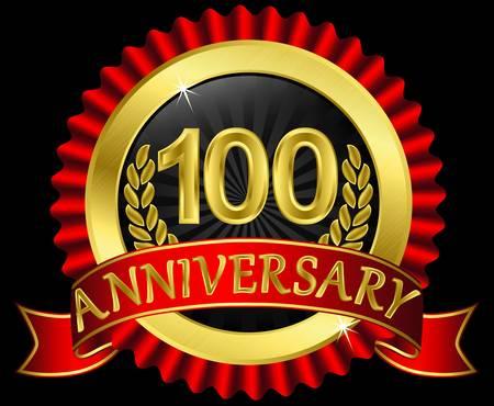 anniversary party: 100 anni etichetta nozze d'oro con nastri, illustrazione