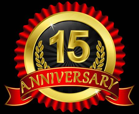 15 years anniversary golden label with ribbons, illustration Vector