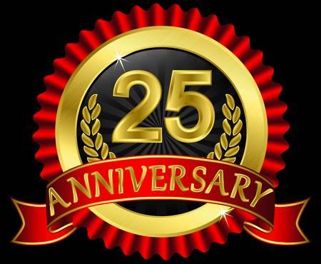 anniversaire mariage: 25 ans d'anniversaire �tiquette dor�e avec des rubans Illustration