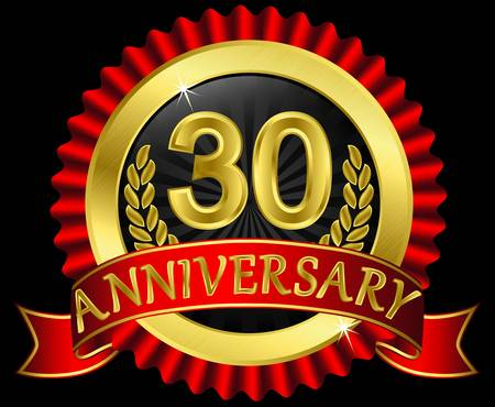 30 years anniversary golden label with ribbons,  illustration Vector